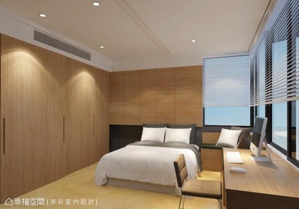 将柱体延伸包覆作为端景,曲线圆弧则化解柜体对床的锐利感。(此为3D合成示意图)