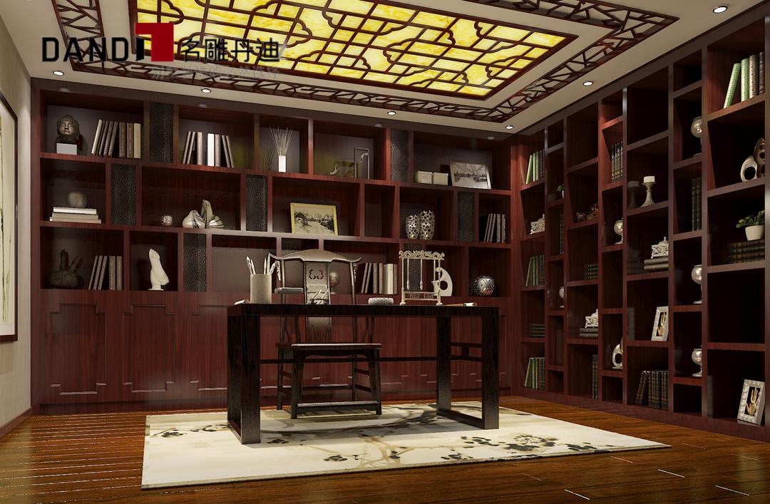 欧式 简欧 别墅 三层别墅 豪宅装修 公园大地 书房图片来自名雕装饰设计在公园大地简欧别墅的分享