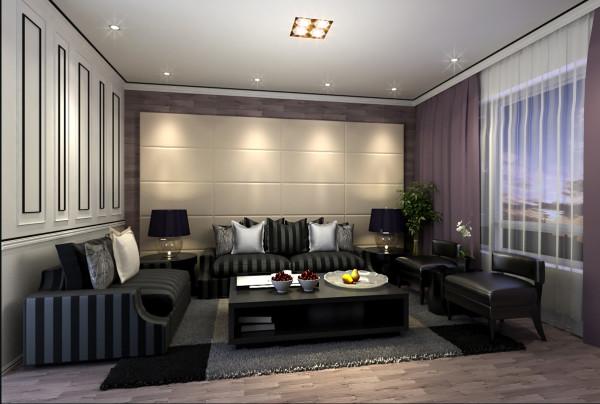 设计理念:利用贯穿手法,让空间在无限中延伸 亮点:地面木地板延伸在沙发米白色调背景墙后,让四方平淡无奇的二维空间地面有了灵动气氛,黑白粗细角线协调贯穿整个空间,灵动又稍显严谨而不失稳重。