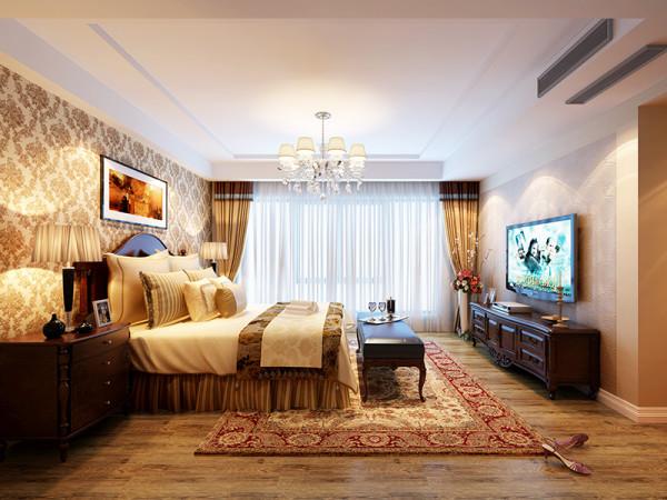 次卧设计没有太多的造型,成果集中在家具和软饰上。美式的大床、床头柜、床尾几、电视柜,奠定了空间的硬性框架,大马士壁纸、实木地板、柔软的床品、精巧的手工地毯则奠定了空间的软性氛围