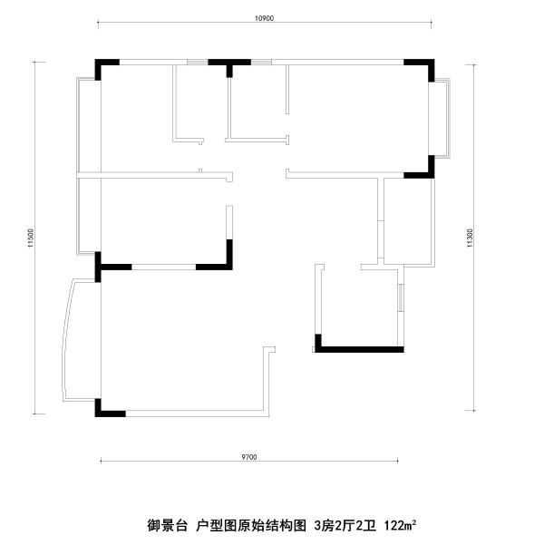 御景台 户型图原始结构图 3房2厅2卫 122m²