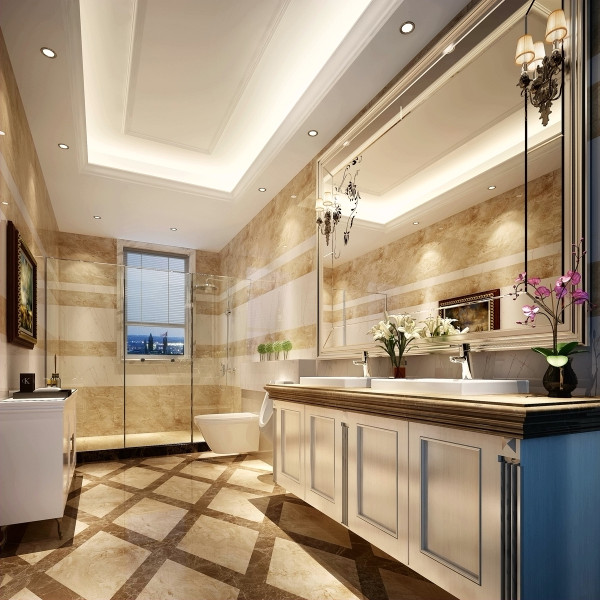放几幅心爱的画或照片在墙上,这里就不再是一个单调乏味的卫生间,而是包含着你生活经历的一个房间,一个你可以放松和遐想的地方。你在装修时可以请工人预留挂钩;画框的材质要不怕水,铝材或不锈钢都可以。