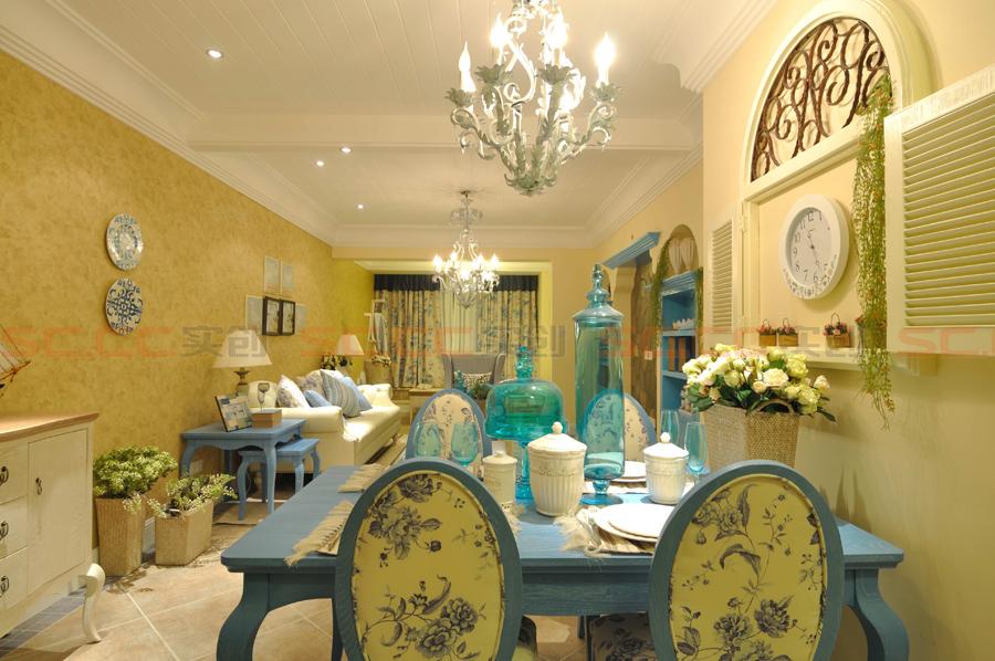 地中海 三居 装修 蓝色风格 餐厅图片来自南京实创装饰夏雨荷在金域华府130平--地中海之家的分享