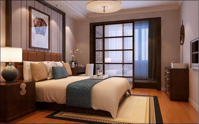中式 三居 白领 收纳 80后 小资 卧室图片来自实创装饰百灵在首城汇景湾154平米三居室的分享