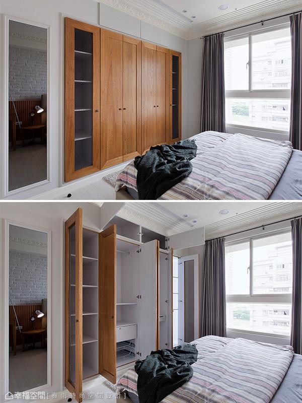 低甲醛系统柜配置木作造型门面让风格统一,两侧铁网门片的设计具备透气与美观的实用机能