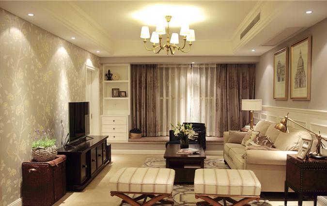 简约 二居 美式 客厅图片来自佰辰生活装饰在128方九份咖啡的浪漫美式新家的分享