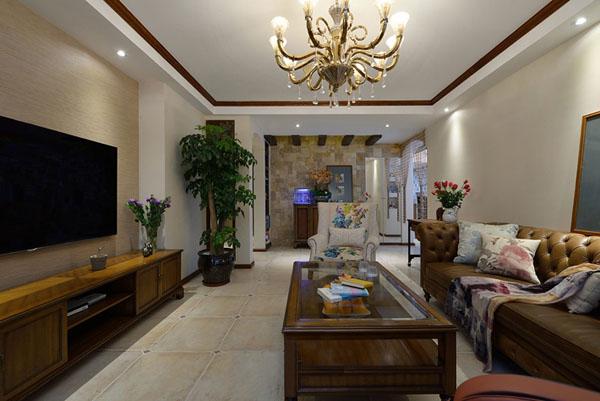 日升装饰 客厅图片来自装修设计芳芳在136平纯美混搭美式地中海三居室的分享