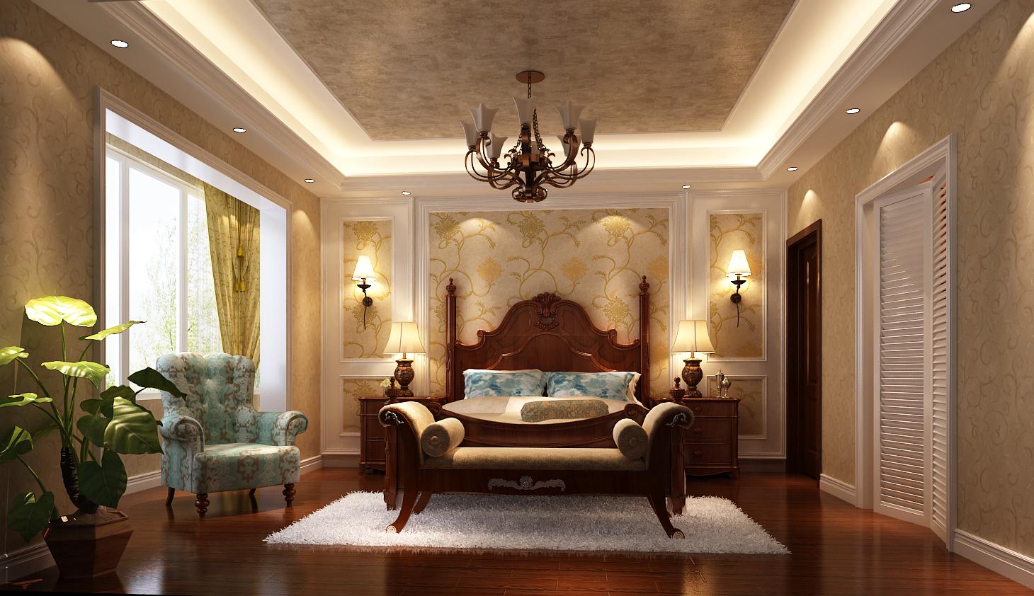 美式 跃层 卧室图片来自高度国际装饰设计集团凌军在中景江山赋200平米美式风格的分享