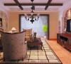 客厅设计: 客厅以田园风格为主,以赭石色的仿古砖作为地面铺设,墙面以米黄色衬托,家具的小碎花在与墙面的壁纸相结合,田园的随意感由然而生。