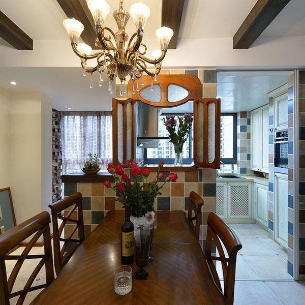 日升装饰 餐厅图片来自装修设计芳芳在136平纯美混搭美式地中海三居室的分享
