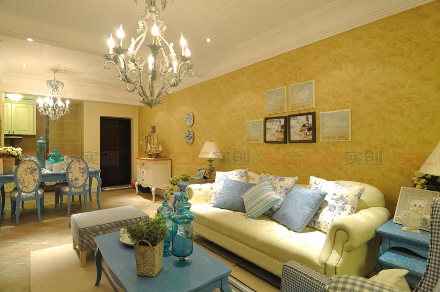 地中海 三居 装修 蓝色风格 客厅图片来自南京实创装饰夏雨荷在金域华府130平--地中海之家的分享
