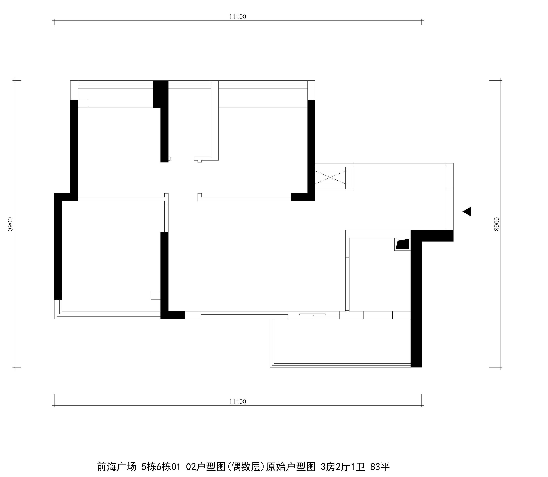 前海广场 户型图 原始结构图 好易家 装饰 装修 设计 简欧 户型图图片来自好易家装饰集团在前海广场5栋6栋01 02户型图的分享