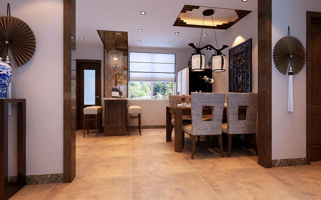 中式 三居 白领 收纳 80后 小资 餐厅图片来自实创装饰百灵在首城汇景湾154平米三居室的分享