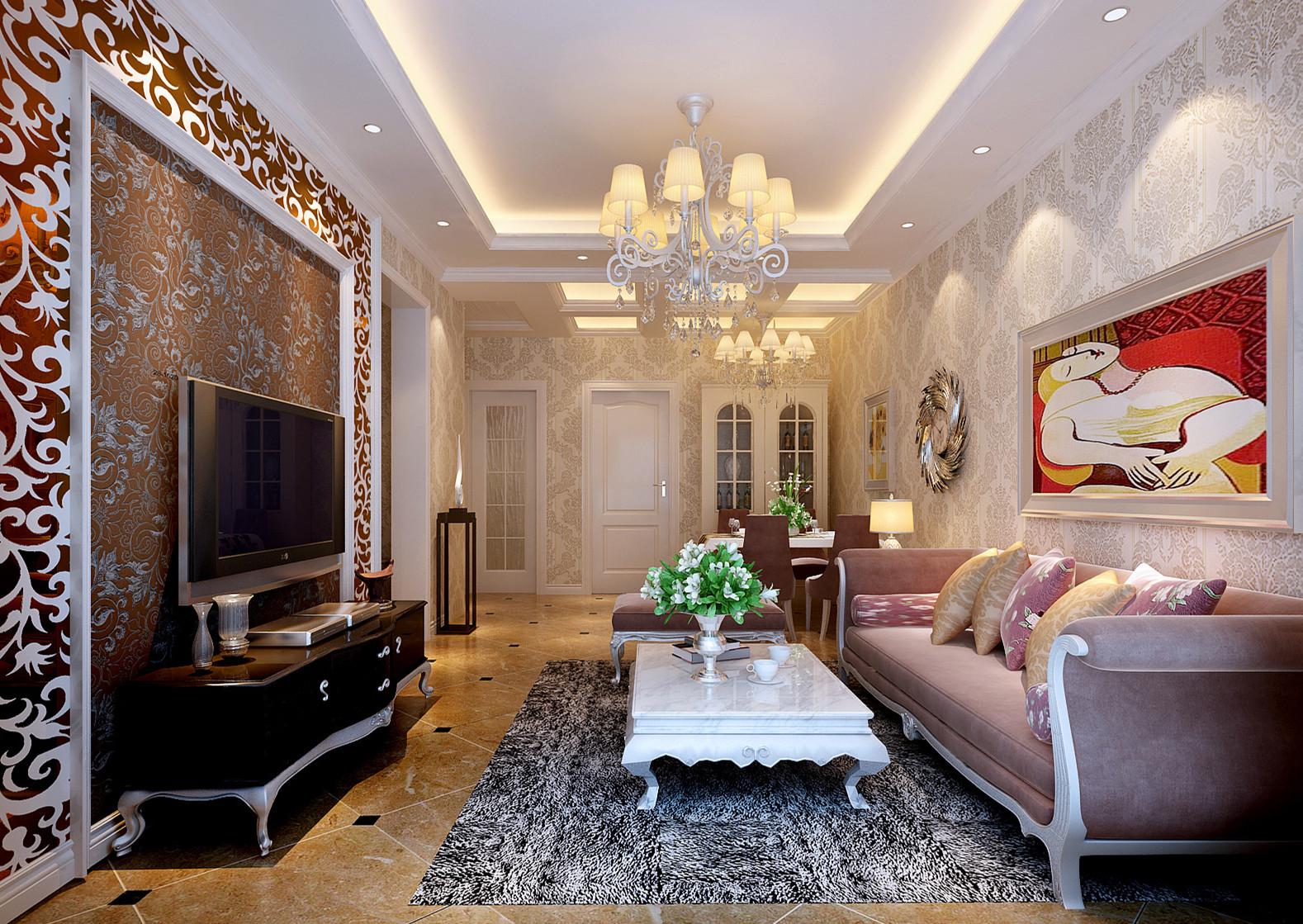 三居 白领 收纳 80后 小资 客厅图片来自实创装饰完美家装在保利金泉126平简欧风案例赏析的分享