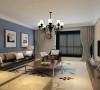 客厅设计: 以白色基调为主,配合米色的暖色系及中明度色彩的灰色,再到沙发背景墙的灰蓝色系,到最后家具的咖色,将整个空间浑然融为一体。灰蓝色的乳胶漆沙发背景墙面,皮纹砖的电视背景墙面
