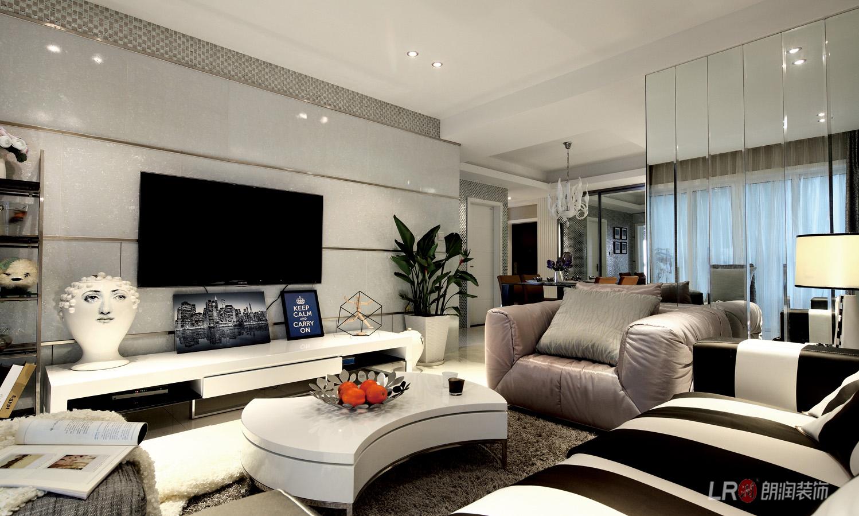 现代 几虐 三居 温馨 舒适 客厅图片来自朗润装饰工程有限公司在世茂玉锦湾-现代经典主义的分享