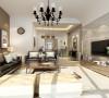 用大地色作为沙发背景墙的颜色,在视觉上给人一种舒服的缓冲感。电视背景墙采用偏灰色的木地板,质感强烈,给人不一样的感觉。