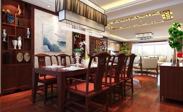 餐厅设计: 纯木质桌椅,突显古色古香的风格,周围的挂画以及木制的酒柜,与餐厅桌椅形成互补,高,中,低层空间都充斥着文化的气息。