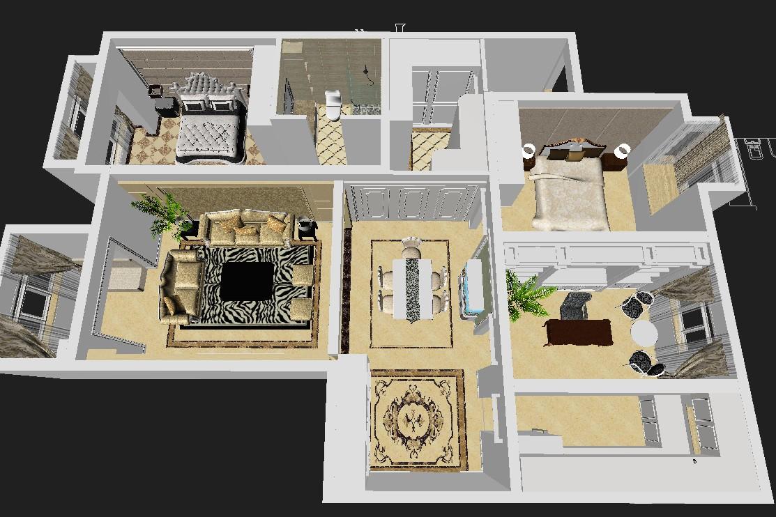 欧式 三居 户型图图片来自高度国际装饰设计集团凌军在中景未山赋130平米欧式风格的分享