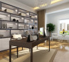 整体的家具风格与客厅卧室相似,体现出了现代简约风格的简单大方。家具的风格与主人的身份吻合,体现出了主人的生活品味。大地色的窗帘与整个空间的色彩相呼应,美观时尚。