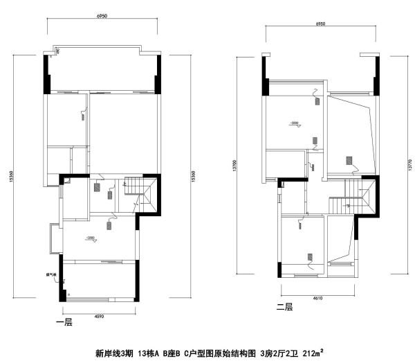 新岸线3期 13栋A B座B C户型图原始结构图 3房2厅2卫 212m²