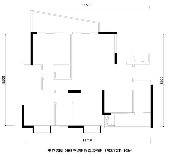美庐锦园 D栋B户型图原始结构图 3房2厅2卫 108m²