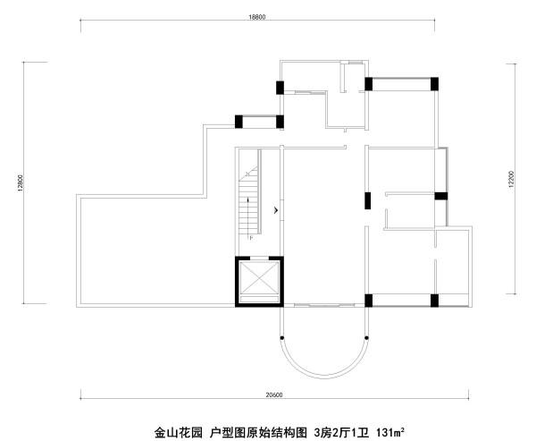 金山花园 户型图原始结构图 3房2厅1卫 131m²