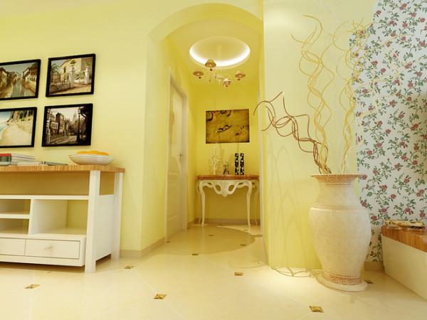 本案设计砖纹、碎花,有着千变万化图案以假乱真的墙纸,给苍白的 墙面带来无穷的生命力。贴有花朵小碎花图案的壁纸,成了田园牧歌的背景。