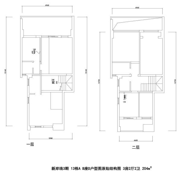 新岸线3期 13栋A B座D户型图原始结构图 3房2厅2卫 204m²