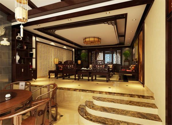 客厅中背景墙与木质雕花的结合彰显低调的高贵,稳重不失摩登的感觉。而在细节上崇尚自然情趣,不用较多色彩装饰,