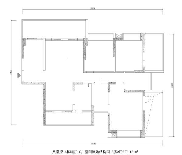 八意府 6栋D座B C户型图原始结构图 3房2厅2卫 121m²