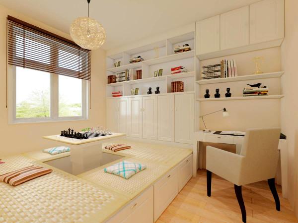 而卧室的设计更更显创意与时尚,榻榻米设计为可升降式,方便舒适。
