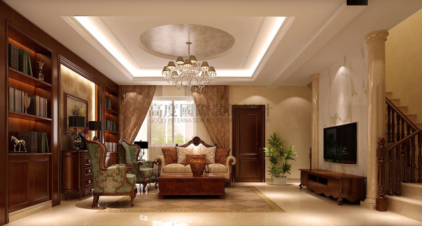龙湖世纪峰景—180—中式简欧混搭 成都高度国际装饰 客厅
