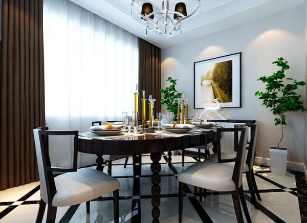 设计理念:黑与白是空间的主色调,咖色墙面,辅以黑白相间的精致餐椅,空间洋溢着现代,时尚气息。