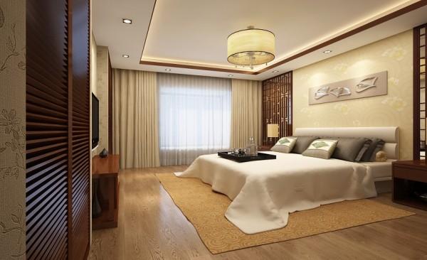 卧室设计: 卧室的基本风格依旧是中式,但颜色更加柔和。整体搭配圆润自然又不失温馨。当忙碌了一天的业主,踏进卧室时,流畅舒适犹如一体的卧室会让业主精神放松,从而有高质量的睡眠。