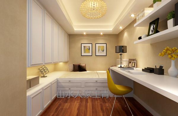 小孩房面积不大但功能俱全,与其他区域深色相反,小孩房以白色家具为主基调。榻榻米衣柜的整体设计把空间规划的合理和谐。