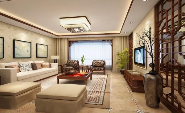 客厅设计: 客厅为中式风格,设计方正大气,古色古香配合两旁的木格栅,再加上窗边垭口挂落,使得客厅浑然天成,韵味十足。沙发的选用和地板的铺设,又让古味中带有一丝活泼,使得整个设计婉如活物般生动。