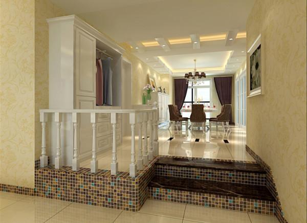 台阶处运用白色实木扶手及马塞克的处理手法取代了原有的木柱造型,在通风采光方面不仅有了很大提高,增强了整体空间感,而且体现出简欧中的细节,进一步提升了整体家居品质。