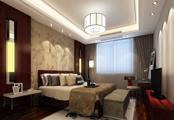 中国传统室内陈设包括字画、匾幅、盘景、陶瓷、古玩、屏风、博古架等,追求一种修身养性的生活境界。中国传统室内装饰艺术的特点是总体布局对称均衡,端正稳健。