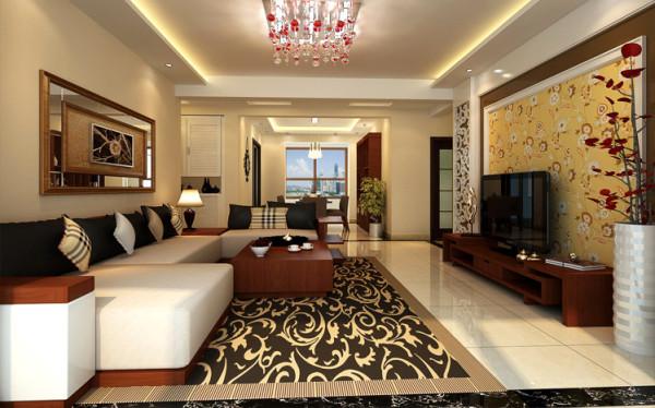 设计理念:创造出舒服、高雅、闲适的内涵气质,是大家一致都在寻求的桃花源。  亮点:时尚的电视墙和传统的家具相结合,演绎出时光穿梭的画面。