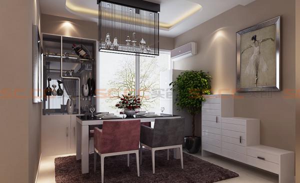 本案的餐厅设计亮点便是酒柜及隐藏式厨房门,以及吊顶。与客厅的设计合二为一,相互呼应。还运用现代挂画,更符合现代人的审美品位。