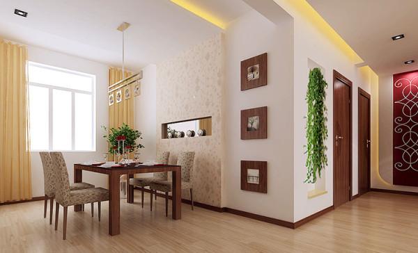 餐厅合理的空间运用,暖色调的搭配,更协调的展示了时尚,温馨。 亮点:合理的空间布局,颜色搭配更显主人的时尚,活力。
