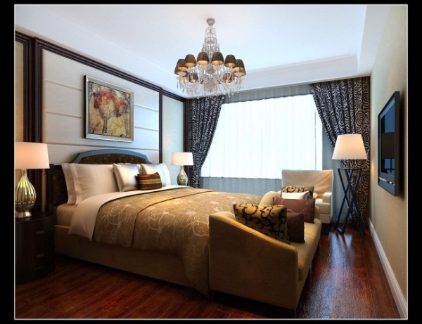 卧室整体给人的感觉仿佛身处喧闹尘世中所保持的安静祥和,感受那种悠然、宁静、质朴、回归自然的生活。