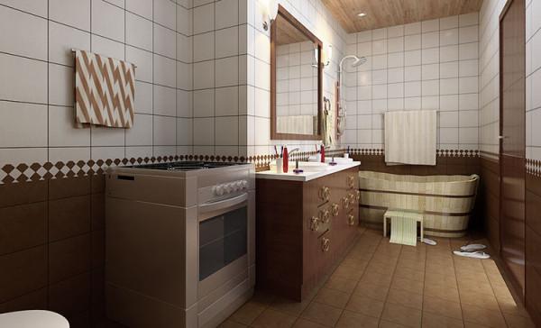 木板吊顶、复古洁具、木质浴缸,这些大量木质的天然元素将卫生间塑造出古朴简约的古典效果,充分的回味天然,令人心情苏畅放松。