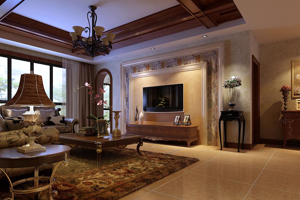 客厅图片来自绍泽妈妈在中海东郡美式三居室装修的分享