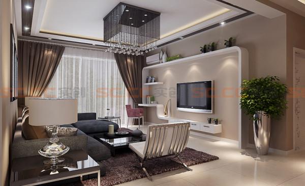 本案电视背景墙的设计是整个住宅空间的亮点,运用了茶镜、石膏板、乳胶漆、条纹壁纸装饰材料,简单的装饰材料,营造出现代化空间。另外还满足的一个小型的书房的功能。