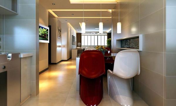 餐厅是主人用餐待客的区域,充分体现主人内心的精致与用心。 亮点:餐厅与客厅走廊的空间用简洁造型的石膏板吊顶做以划分,灯带营造的整体氛围温馨曼妙。