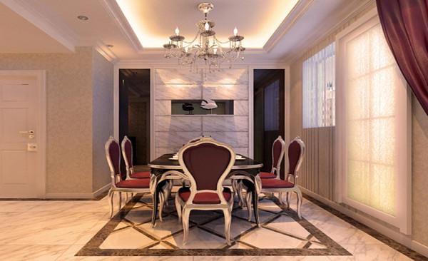 餐厅设计: 餐厅墙面与整个空间相辅相成,墙面运用石材与镜面的搭配,更好的解决了餐厅空间狭小的缺陷,地面拼花使得空间具有丰富的美感,灯具为欧式时尚的元素之一,温馨的灯光环境营造出愉悦的就餐环境。