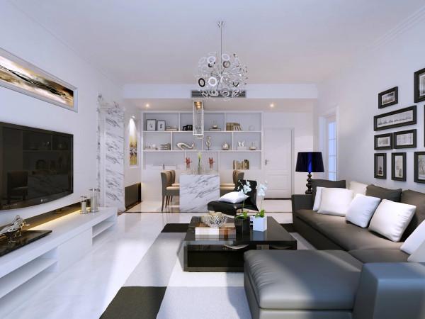极简主义一直以来就是商务人士的最爱,客厅黑白两色的搭配考验了设计师的设计功底,地板选择白色,用了黑色地板做了造型,沙发背景墙用了照片墙,客厅的灯具也用了特殊造型