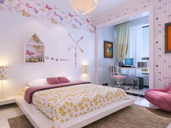 儿童房的设计就重在孩子的感受,床的背景墙中除了花样造型,就是窗户的设置,满足了孩子的幻想,就像来到了蝴蝶翻飞的野外。书桌区域用了乳白色墙漆,提亮那个区域的亮度。